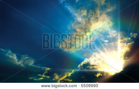 Cloudy Sky With Rays
