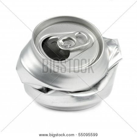 Crushed drink cans .