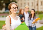summer holidays, education, campus and teenage concept - smiling female student in black eyeglasses with folders and group in the back poster