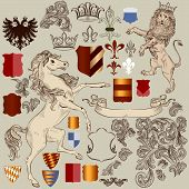 Vector set of luxury royal vintage elements for your heraldic design poster