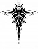 Isolated tattoo of black dragon on white poster