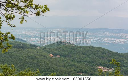 View Of A Mediterranean Town On A Hill