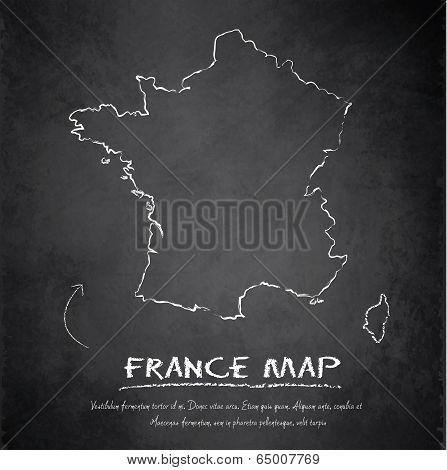 France map blackboard chalkboard vector