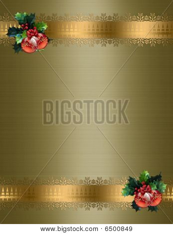 Christmas border gold background