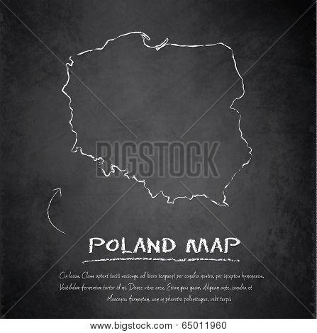Poland map blackboard chalkboard vector