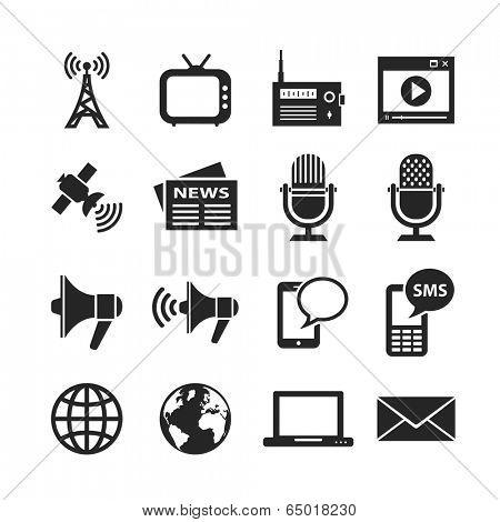 Media icon set. Raster version