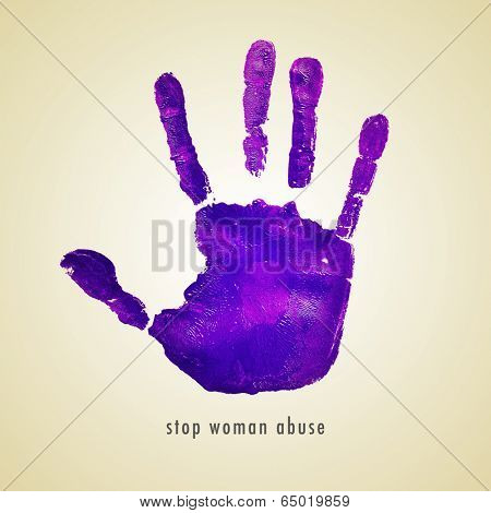 sentence stop woman abuse and a violet handprint on a beige background
