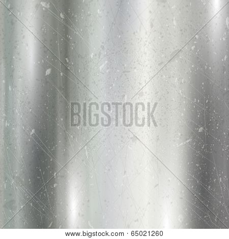 Detailed metallic background with a brushed metal effect and scratches and dints