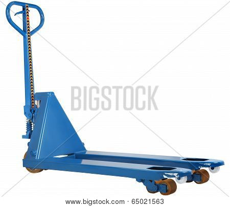 Blue Hand Pallet Hydraulic Truck Isolated On White Background
