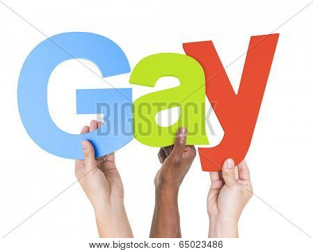 Multiethnic Arms Raised Holding Text Gay
