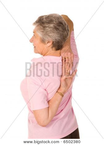 Mature Older Lady Stretching