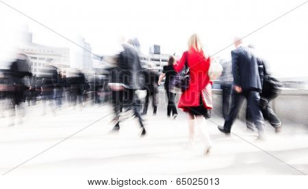 Woman rushing in a city.