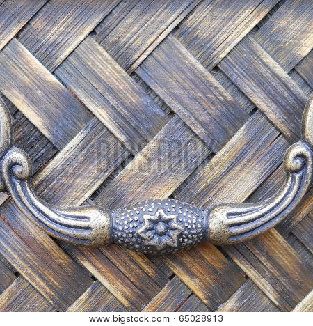 Square Close Up Texture Rattan Weave with Handle