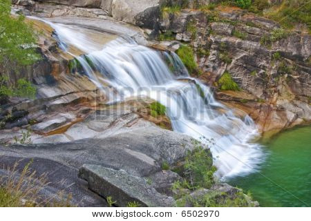Waterfall In Geres National Park, North Of Portugal