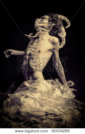 Frightening mythical creature male. Alien creature. Horror. Halloween.