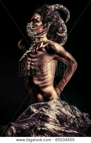poster of Frightening mythical creature male. Alien creature. Horror. Halloween.