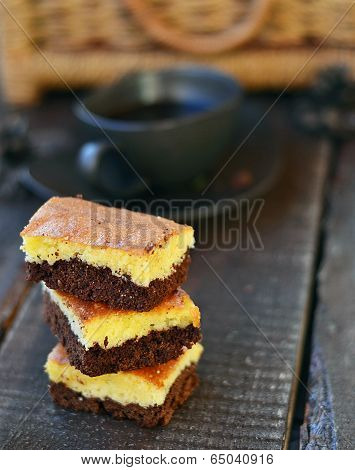 Chocolate and coffee browney on winer background.