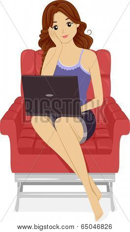 Illustration of a Girl Using Her Laptop at Home