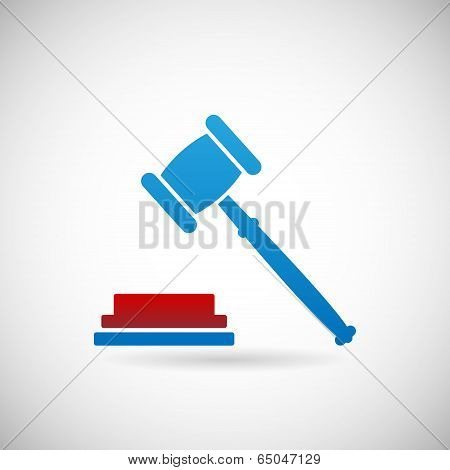 Judgment Verdict Symbol Judge Gavel Icon Template on Gray Background Vector Illustration