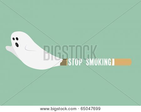 Poster, banner or flyer design for World No Tobacco Day with illustration of a cigarette as imaginary traditional ghost on green background.