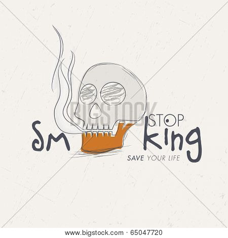 Poster, banner or flyer design for World No Tobacco Day with smoke coming out from a skull and stylish text Stop Smoking on grey background.