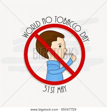 Anti Smoking concept with illustration of a young boy with cigarette for World No Tobacco Day.