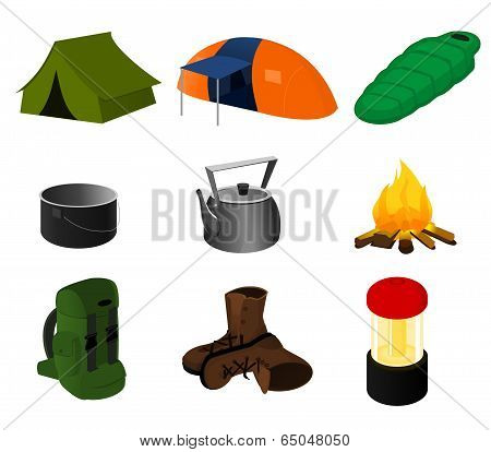 Collection of vector camping icons