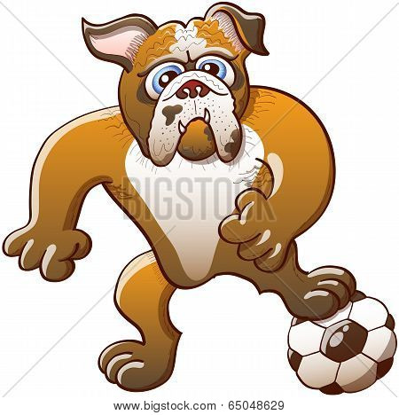 Brave bulldog stepping on a soccer ball, clenching its fists and staring at the objective while preparing a kick poster