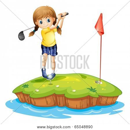 Illustration of an island with a young girl playing golf on a white background