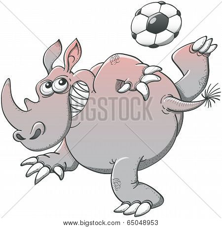 Gray rhino playing soccer with a spectacular style