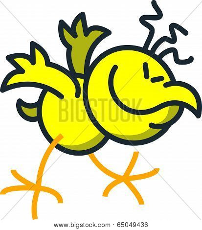 Cool yellow chicken while moving frenetic, enthusiastic and rhythmically his body and head while keeping balance with its wings and feet, smiling generously and clenching its eyes poster