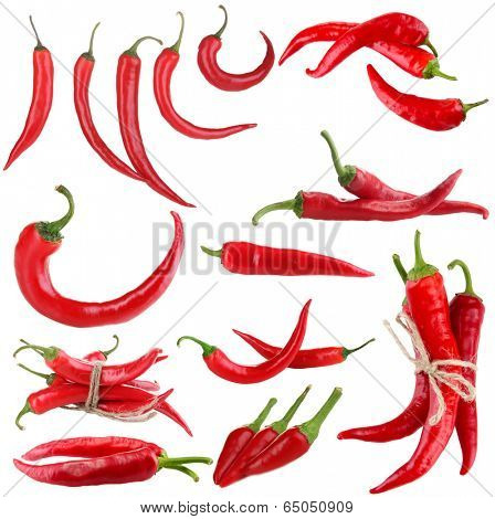Red hot chili pepper collage, isolated on white