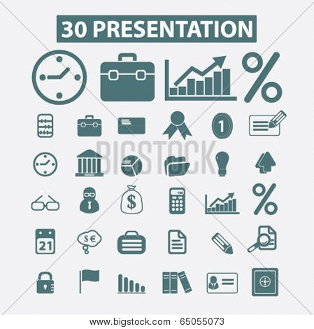 30 business, marketing, adverisment presentation icons set, vector