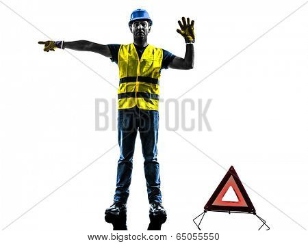 accident detour deviation man  silhouette isolated in white background