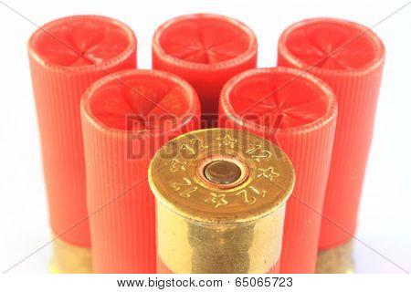 Heap of hunting cartridges for shotgun 12 caliber poster