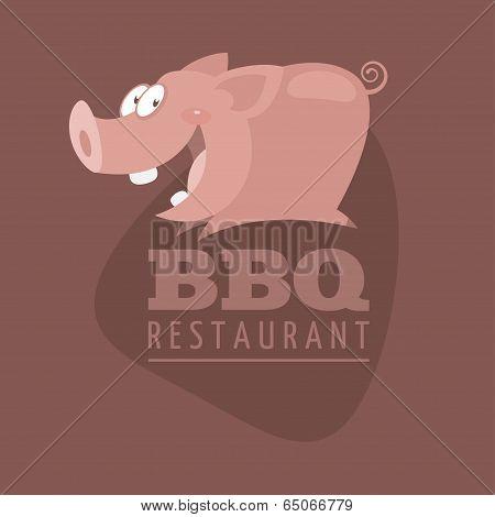 Illustration, BBQ Restaurants emblem pig, format EPS 8 poster