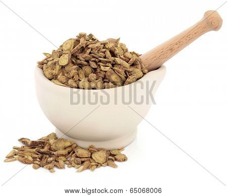 Skullcap root chinese herbal medicine in a stone mortar with pestle over white background. Huang qin. Scutellaria.