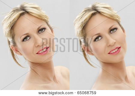 Portrait of woman, comparison of original and reduced photo