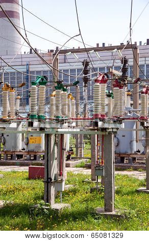 Part Of High-voltage Substation With Switches And Disconnectors In Sunny Day