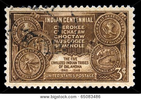 Indian Centennial Us Postage Stamp