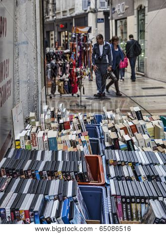 Street Stand With Books And Dvds