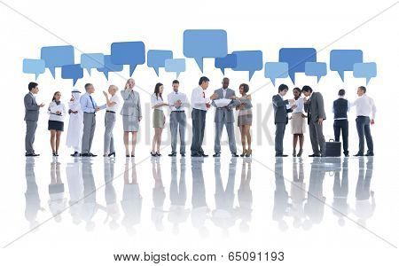 Large Group of Business People Meeting poster