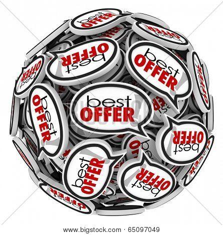 Best Offer words speech bubbles highest bidder sell buy