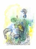 Abstract background with handwritten painted fish underwater world and ornaments in the style of pointillism. poster