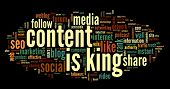 Content is king concept in word tag cloud on black background poster
