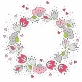 Messy different colorful pink gray flowers and hearts in round wreath on white background with little dots retro romantic botanical centerpiece illustration with place for your text poster