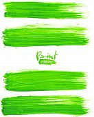 Bright green acrylic brush strokes, vector elements for your design poster