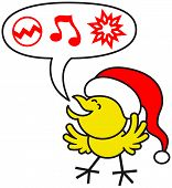 Cute yellow chicken wearing a red Santa hat, clenching its eyes and opening its wings while expressing enthusiastically what it wishes for Christmas: baubles, music and ornaments poster