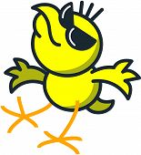Cool yellow chicken with dark sunglasses while smiling, raising its head, extending its wings and moving its legs as for dancing poster