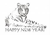 New Year tiger, beautiful animal, black&white style, silhouette, symbol of the year poster